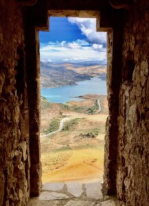 The view from the Zahara castle to the reservoir below