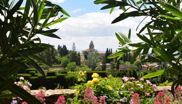 View of the world famous Alhambra from the gardens