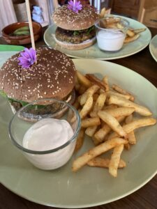 Homemade burgers with fries and aioli